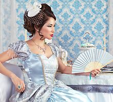 Beautiful asian woman sitting with a fan art photo print by ArtNudePhotos