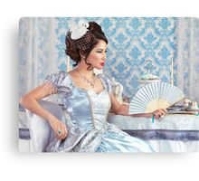 Beautiful asian woman sitting with a fan art photo print Canvas Print
