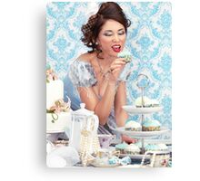 Beautiful lady is about to eat a cupcake at a tea party art photo print Canvas Print