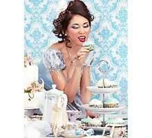 Beautiful lady is about to eat a cupcake at a tea party art photo print Photographic Print