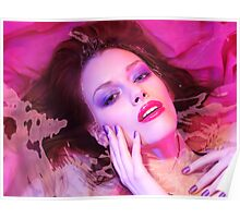 Beauty portrait of woman lying in water with makeup in vivid puple colors art photo print Poster