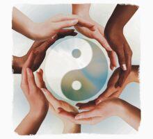 Multiracial Hands Surrounding Yin Yang symbol T-shirt design by ArtNudePhotos