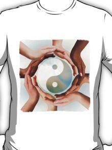 Multiracial Hands Surrounding Yin Yang symbol T-shirt design T-Shirt