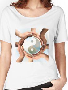 Multiracial Hands Surrounding Yin Yang symbol T-shirt design Women's Relaxed Fit T-Shirt