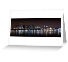 Liverpool Panoramic Skyline At Night Greeting Card