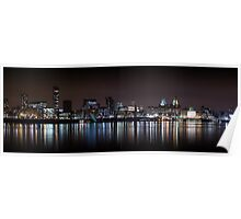 Liverpool Panoramic Skyline At Night Poster