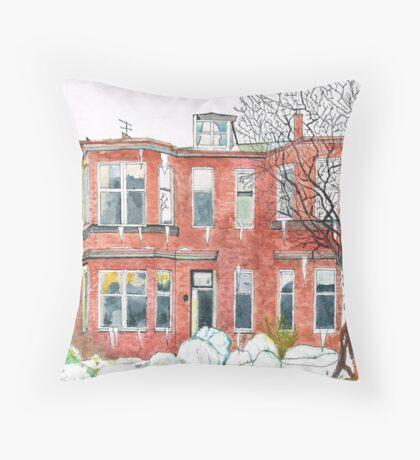 Eleanors House Ayr Scotland Snow scene 1 Throw Pillow