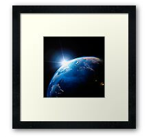 Sunrise over the Earth globe art photo print Framed Print