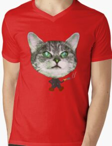 Cat Smoke Mens V-Neck T-Shirt