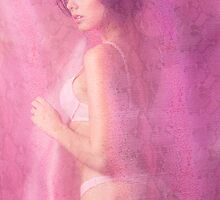 Young beautiful woman behind pink sheer fabric art photo print by ArtNudePhotos