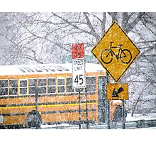 School day blizzard in New York City  Photographic Print