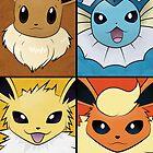 Pokemon Eeveelutions - Jolteon Flareon Vaporeon Eevee by Jorden Tually