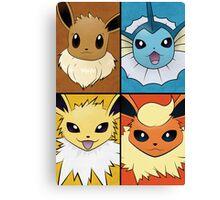 Pokemon Eeveelutions - Jolteon Flareon Vaporeon Eevee Canvas Print