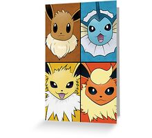 Pokemon Eeveelutions - Jolteon Flareon Vaporeon Eevee Greeting Card