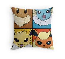Pokemon Eeveelutions - Jolteon Flareon Vaporeon Eevee Throw Pillow