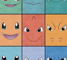 Kanto Starters - Pokemon Poster - Charizard Blastoise Venusaur by Jorden Tually