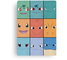 Kanto Starters - Pokemon Poster - Charizard Blastoise Venusaur Canvas Print