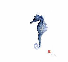 Seahorse Sea Horse Blue Fish Water Colors Collection Fishes Watercolor Painting by Johana Szmerdt
