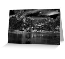 House by the Lake - BW Greeting Card