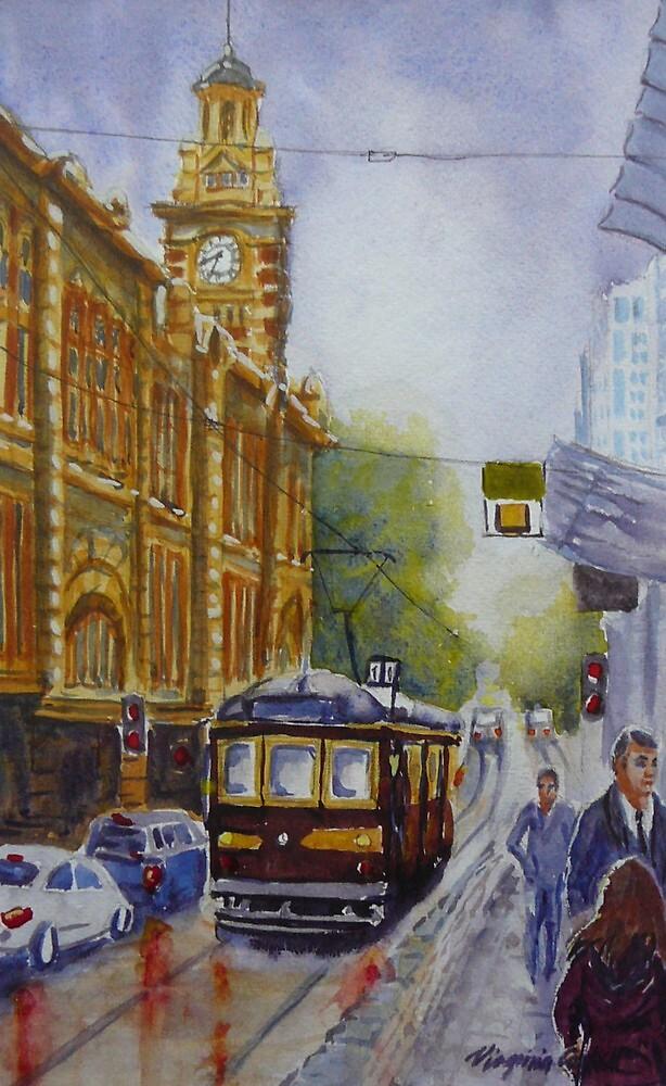 Flinders Street, Melbourne 2 by Virginia  Coghill
