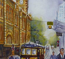 Flinders Street, Melbourne 2 by Virginia  Coghill