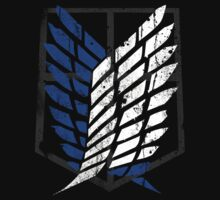 Attack On Titan - Survey Corps Logo (Blue Grunge) by Chad D'cruze