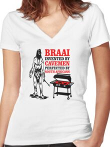 BRAAI SOUTH AFRICAN CAVE MAN Women's Fitted V-Neck T-Shirt