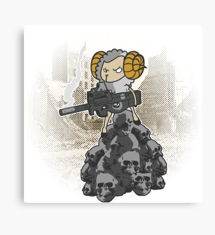 sheep with a machine gun Canvas Print