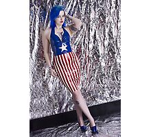 Captain America Latex Queen Photographic Print