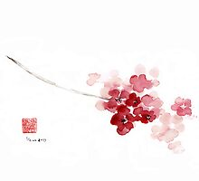 Cherry Blossom Sakura Pink Flower Flowers Delicate Branch Brown Watercolor Painting by Johana Szmerdt