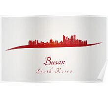Busan skyline in red Poster