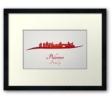Palermo skyline in red Framed Print