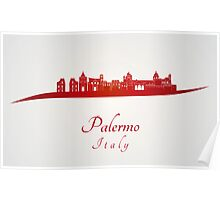Palermo skyline in red Poster