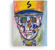 SKULL with  BASEBALL HAT Canvas Print