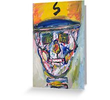 SKULL with  BASEBALL HAT Greeting Card