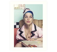 Retro waitress at the diner Art Print