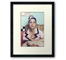 Retro waitress at the diner Framed Print