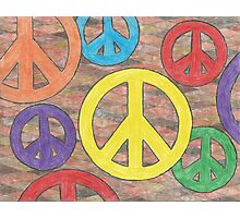 Multicolored Peace Signs Photographic Print