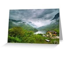 Lake in the mountains on a foggy day Greeting Card