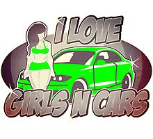 Pinup-Girls: I love girls ´n cars Photographic Print