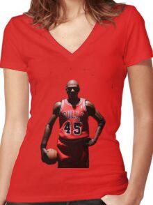 MJ 23 Women's Fitted V-Neck T-Shirt