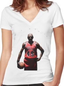 MJ 23 Women's Fitted V-Neck T-Shirt
