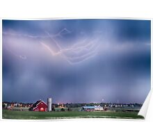 Lightning Storm And The Big Red Barn Poster