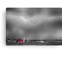 Lightning Storm And The Big Red Barn BWSC Canvas Print
