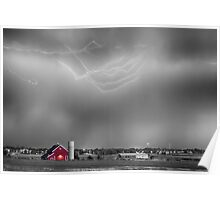 Lightning Storm And The Big Red Barn BWSC Poster