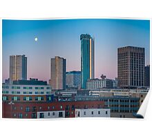 Moonset over the Birmingham Skyline Poster