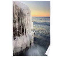 Icy Boulder, Lake Superior Poster