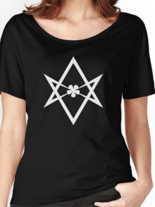 Aleister Crowley - DO WHAT THOU WILT SHALL BE THE WHOLE OF THE LAW - Occult - Thelema (White On Black) Women's Relaxed Fit T-Shirt
