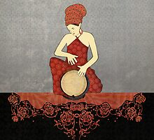 Rastafari Woman on Bongo Drum by Janet Carlson