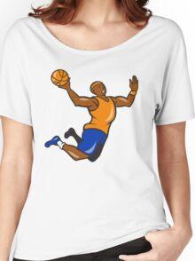 Basketball Player Dunking Ball Cartoon Women's Relaxed Fit T-Shirt